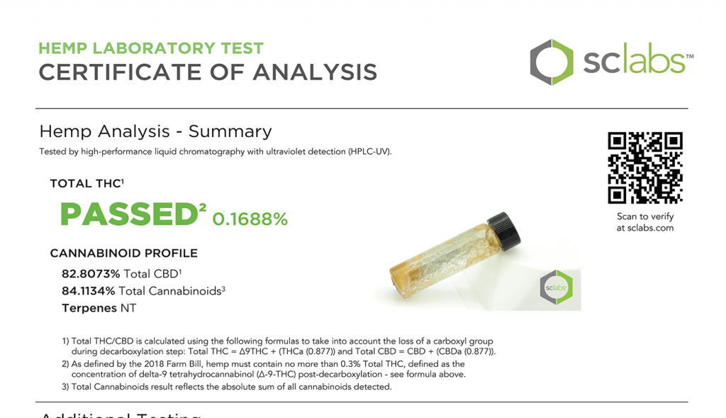 Hemp Laboratory Test Certificate of Analysis
