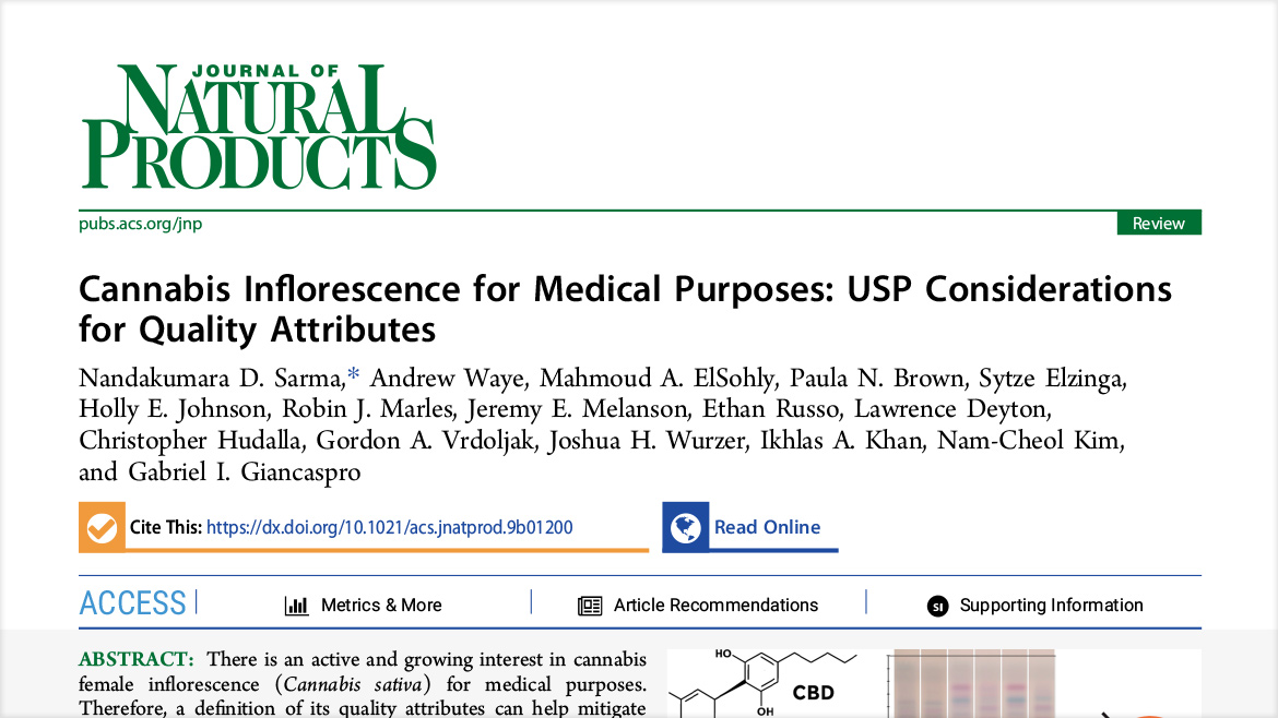 USP Cannabis Expert Panel | Cannabis Inflorescence for Medical Purposes: USP Considerations for Quality Attributes