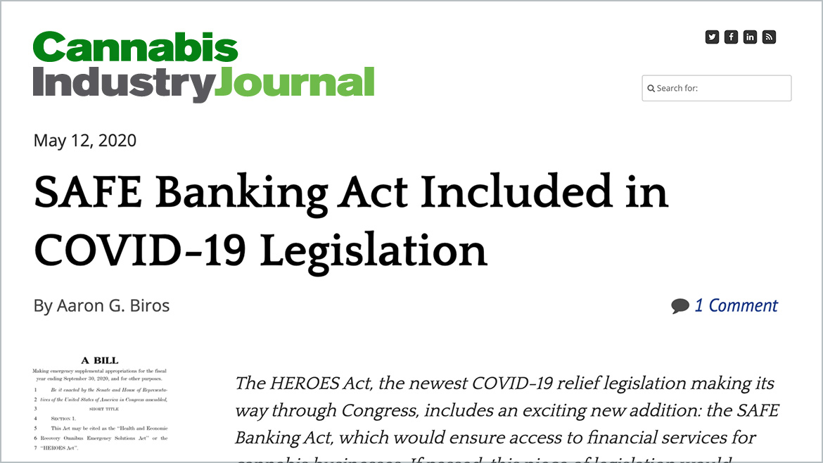 SAFE Banking Act Included in COVID-19 Legislation