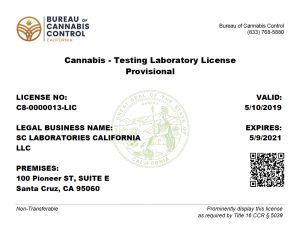 SC Labs BCC Provisional License C8-0000013-LIC