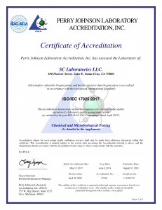 SC Labs ISO 17025:2017 Accreditation Certificate