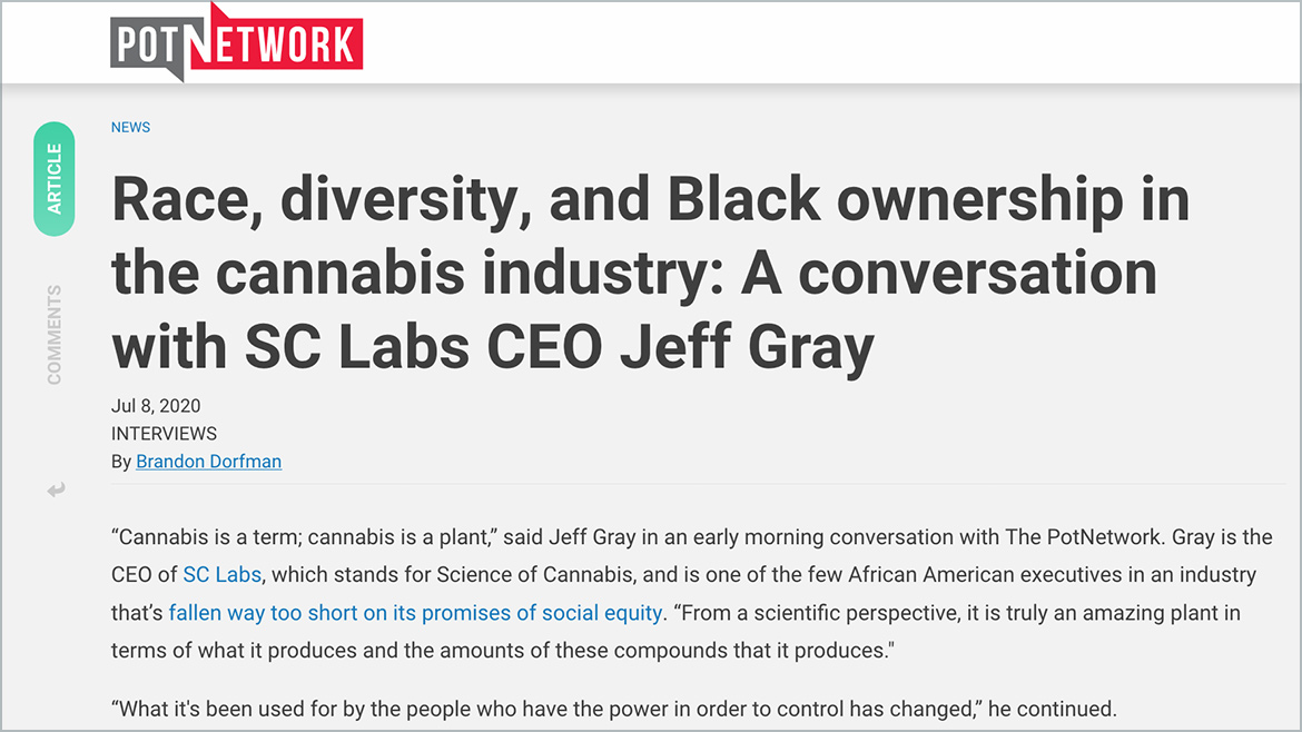 Pot Network: Race, diversity, and Black ownership in the cannabis industry: A conversation with SC Labs CEO Jeff Gray