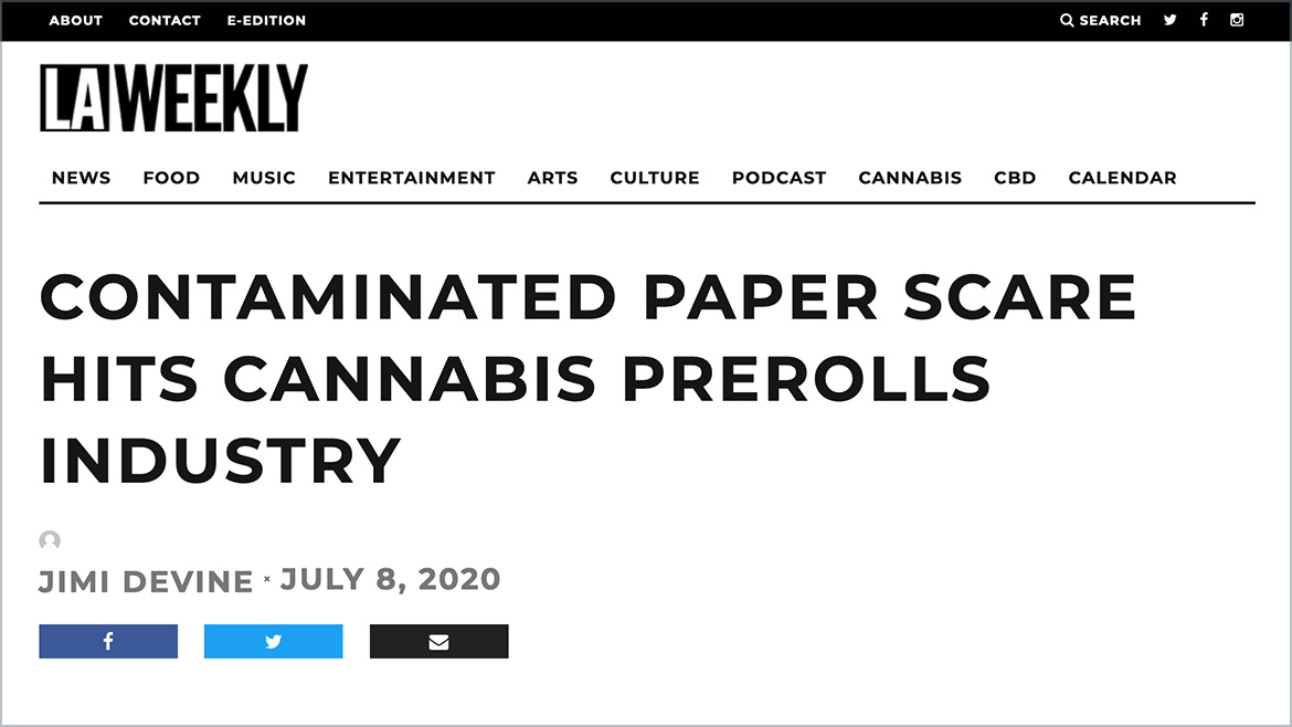 LA Weekly: Contaminated Paper Scare Hits Cannabis Prerolls Industry