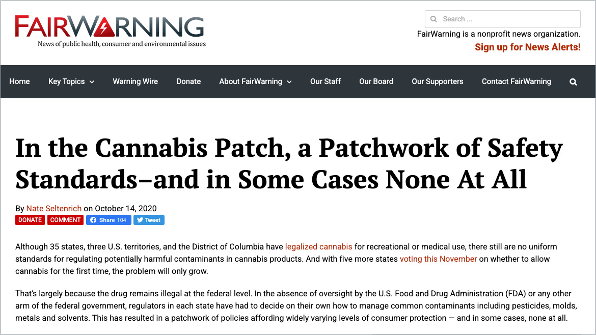 Fair Warning | In the Cannabis Patch, a Patchwork of Safety Standards--and in Some Cases None At All