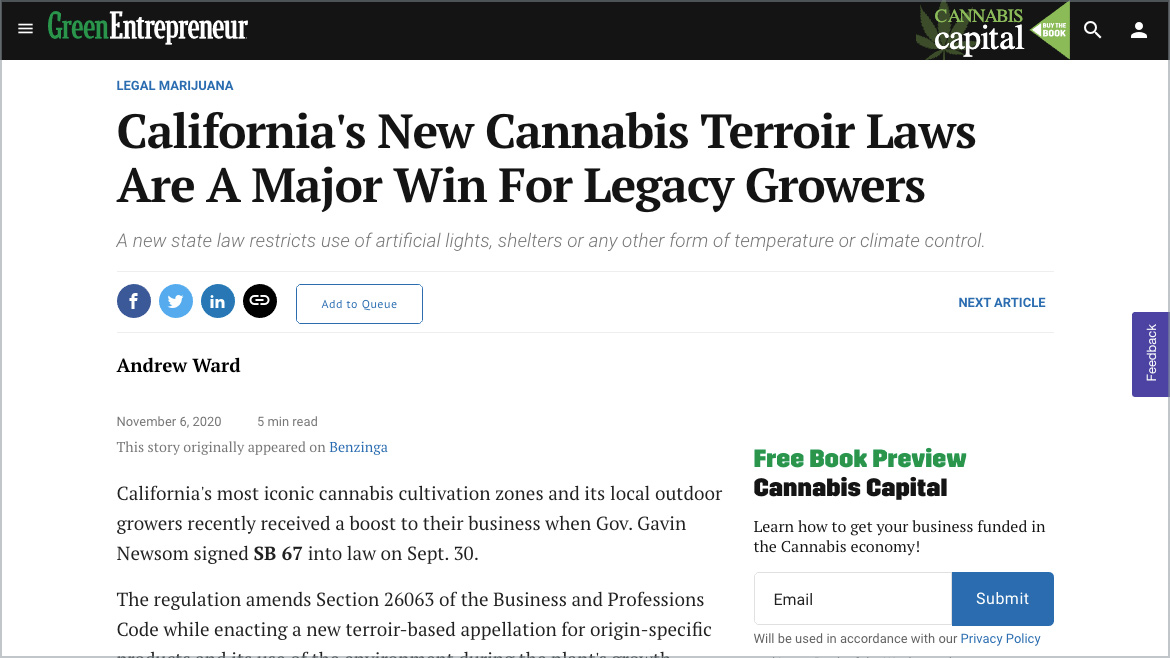 Green Entrepreneur | California's New Green Entrepreneur | Cannabis Terroir Laws Are A Major Win For Legacy Growers