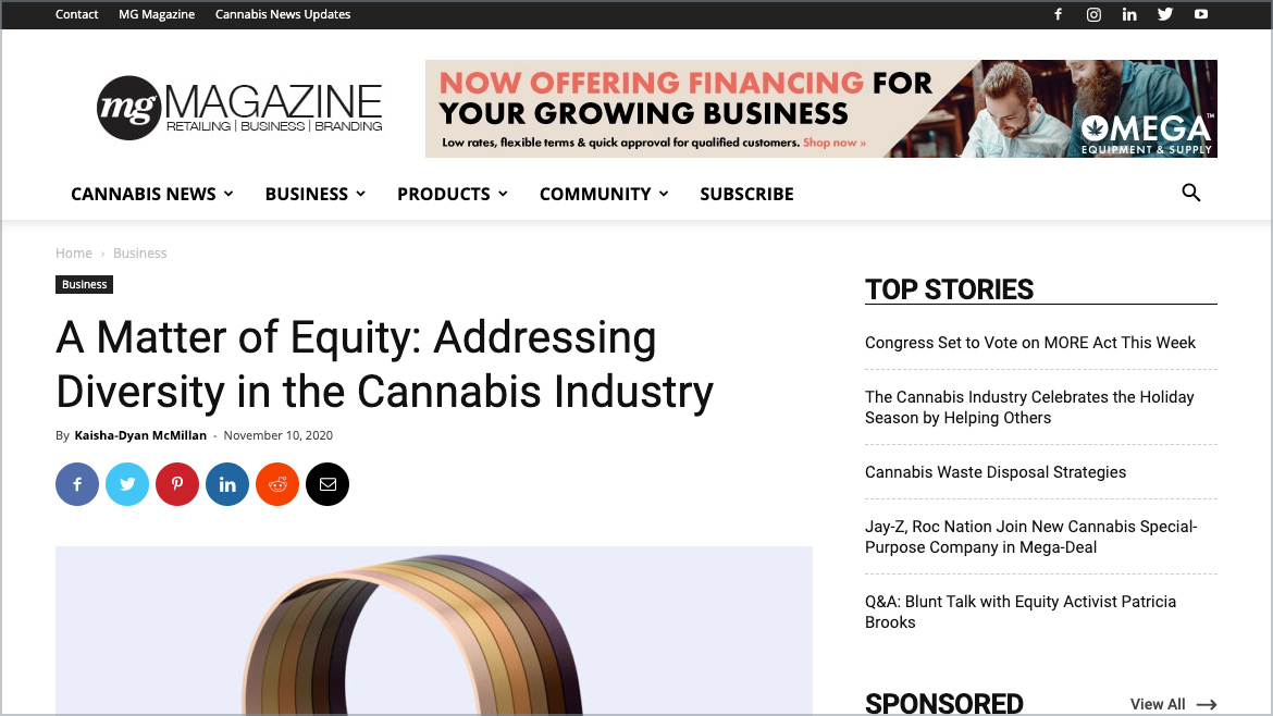 MG Retailer | Business A Matter of Equity: Addressing Diversity in the Cannabis Industry