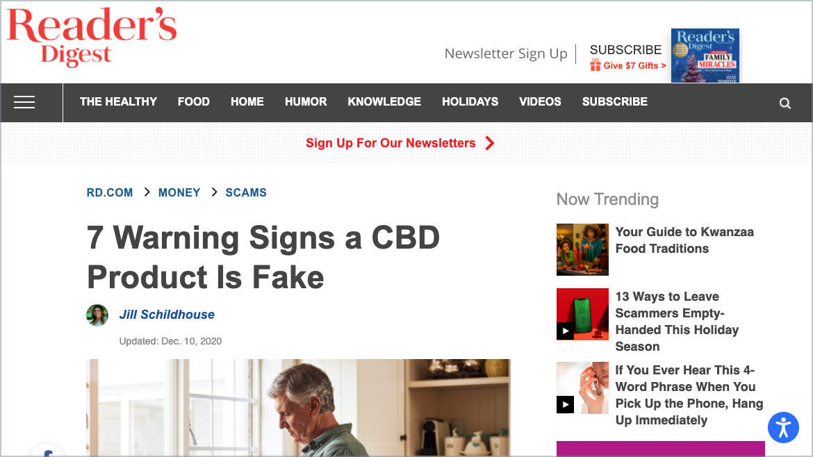 Reader's Digest | 7 Warning Signs a CBD Product is Fake