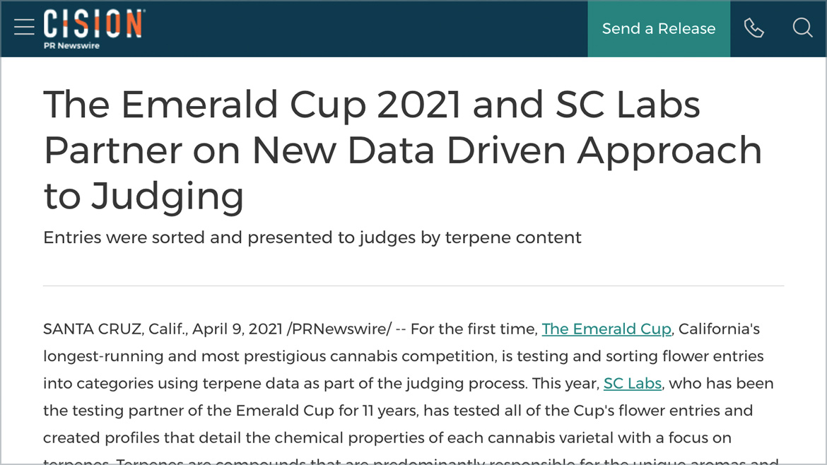 The Emerald Cup 2021 and SC Labs Partner on New Data Driven Approach to Judging