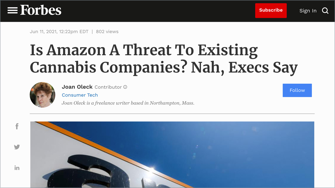 Forbes | Is Amazon A Threat To Existing Cannabis Companies? Nah, Execs Say