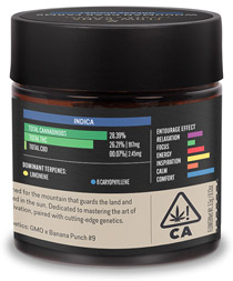 Flow Kana product label with terpene data