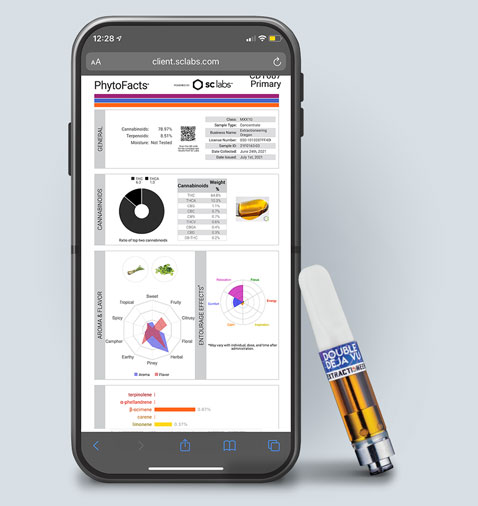 Extractioneering cannabis extract testing results on mobile phone